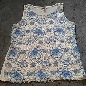 Charter club blue and white floral lace top